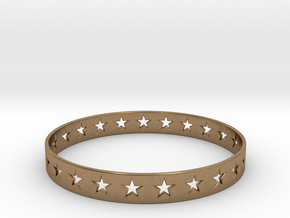 Stars Around (5 points, cut through) - Bracelet in Natural Brass: Small