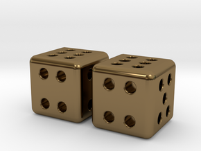Tiny Metal Dice Set - Micro D6 in Polished Bronze