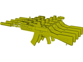 1/48 scale Avtomat Kalashnikova AK-74 rifles x 5 in Smoothest Fine Detail Plastic