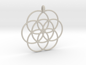 Flower of Life - Hollow Pendant in Natural Sandstone