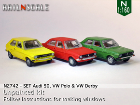SET Audi 50, VW Polo & VW Derby (N 1:160) in Smooth Fine Detail Plastic