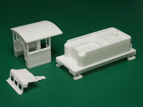 Parts for 2-8-0 conversion A (cab,pilot,tender) HO in White Strong & Flexible Polished