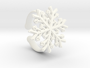 Snowflake Ring 1 d=16.5mm Adjustable h35d165a in White Processed Versatile Plastic