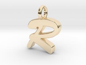 R - Pendant 2mm thk. in 14K Yellow Gold