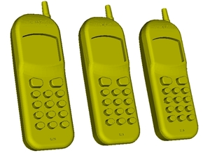 1/15 scale Nokia cell phones x 3 in Smooth Fine Detail Plastic