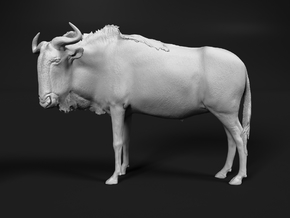 Blue Wildebeest 1:48 Standing Male in White Natural Versatile Plastic