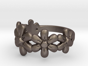 Flower Ring in Polished Bronzed Silver Steel
