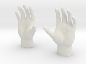 Generic Male Hands - Open Cupped in White Natural Versatile Plastic: 1:40