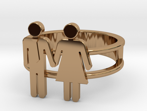 Love Collection Rings - Man and Woman Ring in Polished Brass: 6 / 51.5
