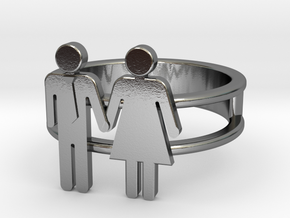 Love Collection Rings - Man and Woman Ring in Polished Silver: 5 / 49