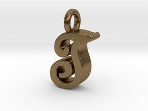 T - Pendant 3mm thk. in Natural Bronze