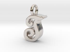 T - Pendant 3mm thk. in Rhodium Plated Brass