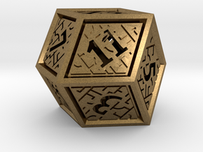Hedron D12 (Hollow), balanced gaming die in Natural Bronze