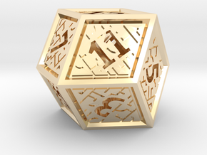 Hedron D12 (Hollow), balanced gaming die in 14k Gold Plated Brass