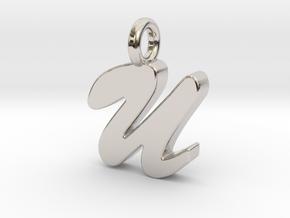U - Pendant 2mm thk. in Rhodium Plated Brass