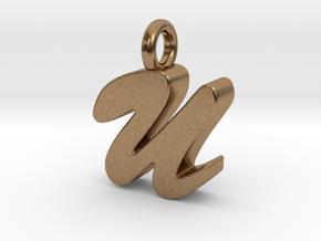 U - Pendant 3mm thk. in Natural Brass
