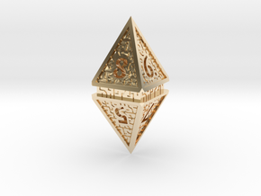 Hedron D8 (Hollow), balanced gaming die in 14k Gold Plated Brass