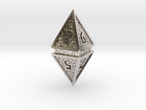Hedron D8 (Hollow), balanced gaming die in Rhodium Plated Brass