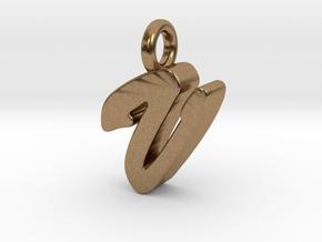 V - Pendant 3mm thk. in Natural Brass