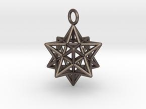 Pendant_Pentagram-Dodecahedron in Polished Bronzed Silver Steel