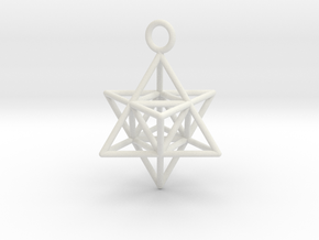 Pendant_Merkaba-Triforce in White Natural Versatile Plastic