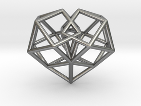 Pendant_Cuboctahedron-Heart in Natural Silver