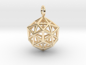 Pendant_ Cuboctahedron-Icosahedron in 14k Gold Plated Brass
