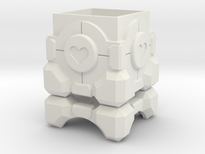 Portal Companion Cube Ring Box in White Premium Versatile Plastic: Medium