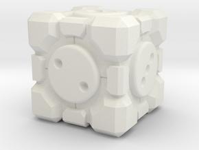 Portal Companion Cube Dice 19mm in White Premium Strong & Flexible: d3