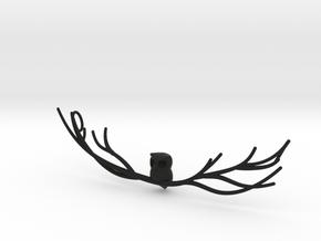 Owl pendant in Black Premium Versatile Plastic