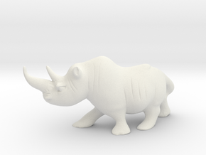 Cute Rhino  in White Natural Versatile Plastic