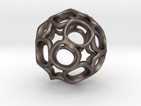 Truncated icosahedron 2.5CM in Polished Bronzed Silver Steel