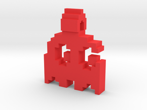 8-bit Ghost from Pac-Man Pendant in Red Processed Versatile Plastic