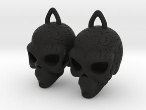 Day of the Dead Earrings  2.5cm in Black Premium Strong & Flexible