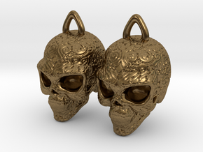 Day of the Dead Earrings  2.5cm in Natural Bronze