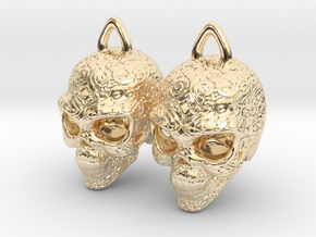 Day of the Dead Earrings  2.5cm in 14K Yellow Gold