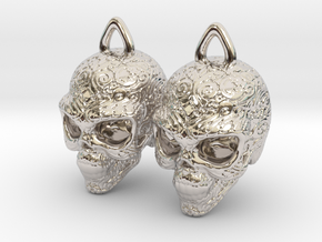 Day of the Dead Earrings  2.5cm in Platinum