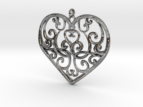 Filigree Antique Heart pendant in Fine Detail Polished Silver