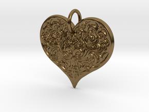 Filigree Engraved Heart pendant in Polished Bronze