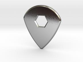 Guitar Pick (jazz design) in Polished Silver