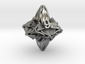 Floral Dice – D10 Gaming die in Natural Silver