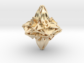 Floral Dice – D10 Gaming die in 14k Gold Plated Brass