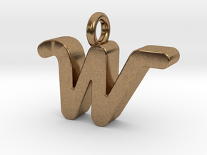 W - Pendant 3mm thk. in Natural Brass