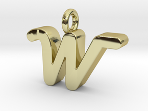 W - Pendant 3mm thk. in 18k Gold Plated Brass