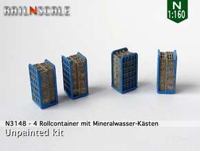 4 Rollcontainer mit Mineralwasser-Kästen (N 1:160) in Smoothest Fine Detail Plastic