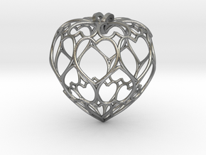 Filigree Round Drop Pendant in Natural Silver
