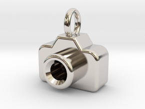 Mini DSLR Camera - Pendant in Rhodium Plated Brass