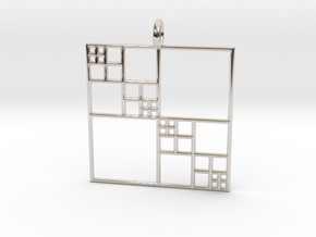 Fractal Squares - Pendant in Rhodium Plated Brass