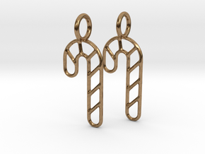 Candy cane earrings in Natural Brass