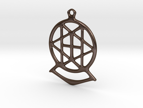 Key ring - star in Polished Bronze Steel
